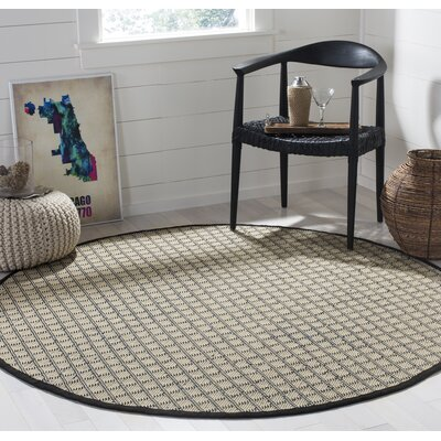Doyle Ivory/Black Indoor/Outdoor Area Rug Rug Size: Round 6