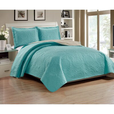 Altnahinch 3 Piece Reversible Quilt Set Size: Queen, Color: Aqua/Camel