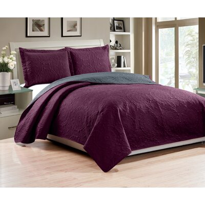 Altnahinch 3 Piece Reversible Quilt Set Size: King, Color: Eggplant/Charcoal