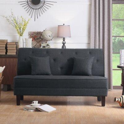 Hurst Tufted Loveseat Upholstery: Charcoal