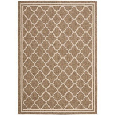 Short Brown/Bone Outdoor Area Rug Rug Size: Rectangle 53 x 77
