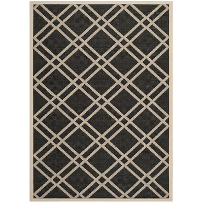 Short Black/Beige Indoor/Outdoor Rug Rug Size: Rectangle 53 x 77