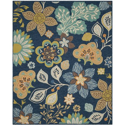 Doyle Hand-Hooked Navy Indoor/Outdoor Area Rug Rug Size: Rectangle 8 x 10