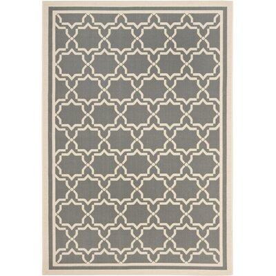 Short Anthracite / Beige Indoor/Outdoor Rug Rug Size: Rectangle 53 x 77