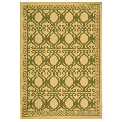 Short Natural/Olive Power Loomed Outdoor Rug Rug Size: Rectangle 4 x 57