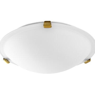 Hilbert 2-Light Flush Mount Fixture Finish: Aged Brass