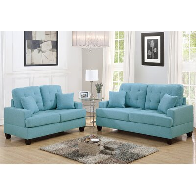 Saphira 2 Piece Living Room Set Upholstery: Blue