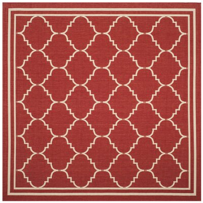 Short Red/Beige Indoor/Outdoor Area Rug Rug Size: Square 67
