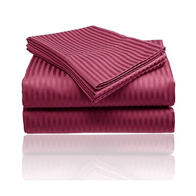 Keeling Burgundy Fitted Sheet Size: Double, Color: Burgundy