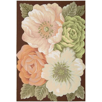 Haleigh Flower Hand-Hooked Area Rug Rug Size: Rectangle 36 x 56