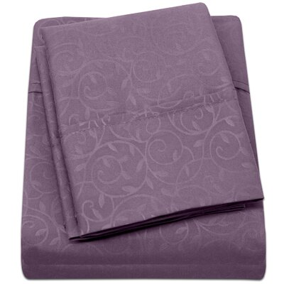Keeling Burgundy Fitted Sheet Size: King, Color: Plum