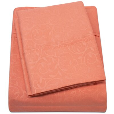 Keeling Burgundy Fitted Sheet Size: Double, Color: Orange