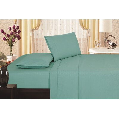 Keeling Burgundy Fitted Sheet Size: Double, Color: Turquoise