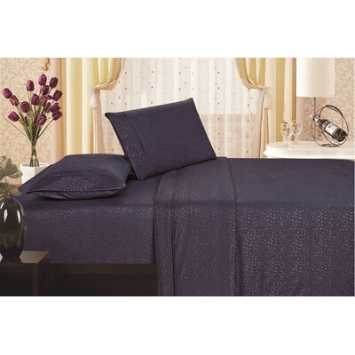 Keeling Burgundy Fitted Sheet Size: Queen, Color: Navy