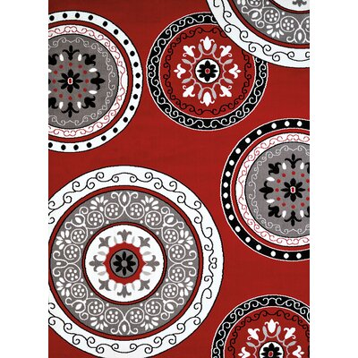 Allenville Red/Brown Area Rug Rug Size: 53 x 72