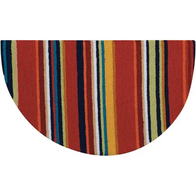 Frieda Hand-Tufted Red Area Rug Mat Size: Half Circle 17 x 28