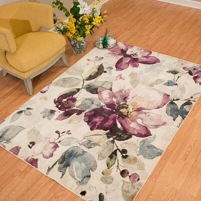 Alaskan Floral Garden Ivory/Purple Area Rug Rug Size: Rectangle 53 x 72