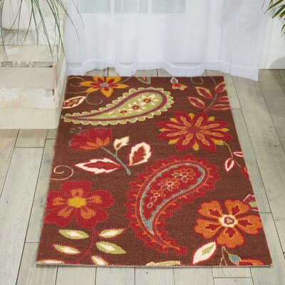 Sharan Chocolate/Red Area Rug