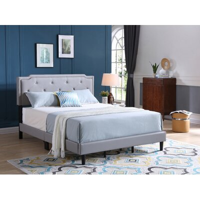 Indianapolis Upholstered Panel Bed Size: Twin, Color: Gray