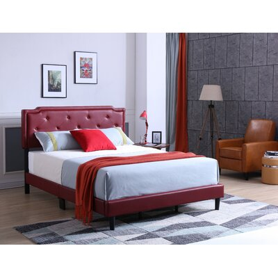 Indianapolis Upholstered Panel Bed Size: Queen, Color: Red