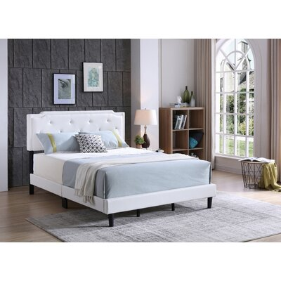Indianapolis Upholstered Panel Bed Size: Full, Color: White