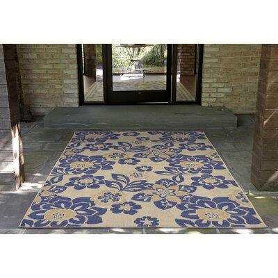 Coleg Garden Power Loom Blue/Beige Indoor/Outdoor Area Rug Rug Size: Rectangle 710 x 910
