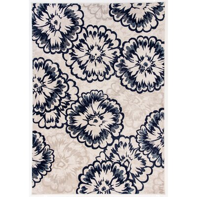 Amy Ivory/Blue Area Rug Rug Size: Rectangle 53 x 77