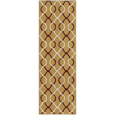 Joan Gold/Red Area Rug Rug Size: Runner 27 x 8