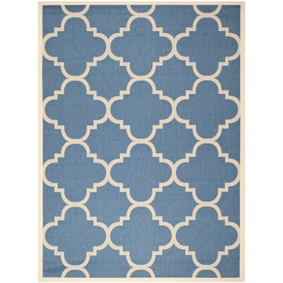 Short Lattice Blue/Beige Indoor/Outdoor Area Rug Rug Size: Rectangle 8' x 11'2
