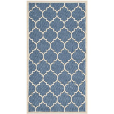 Short Blue/Beige Indoor/Outdoor Area Rug Rug Size: Rectangle 27 x 5