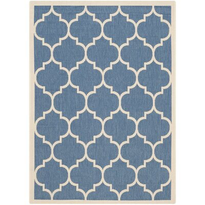 Short Blue/Beige Indoor/Outdoor Area Rug Rug Size: Rectangle 4 x 57