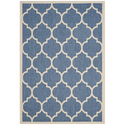 Short Blue/Beige Indoor/Outdoor Area Rug Rug Size: Rectangle 53 x 77