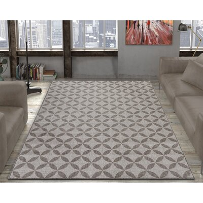 Emma Contemporary Star Design Gray Outdoor/Indoor Area Rug Rug Size: 53 x 73