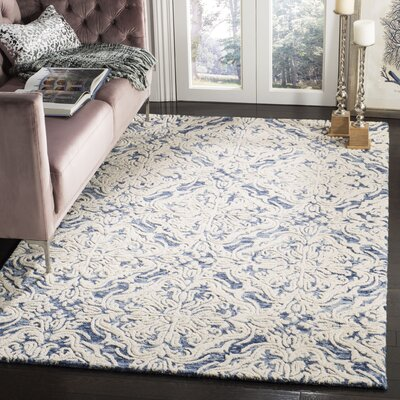 Emrick Hand-Woven Wool Blue/Ivory Area Rug Rug Size: Runner 23 x 8