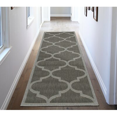 Emma Morroccan Trellis Power Loom Dark Gray Indoor/Outdoor Area Rug Rug Size: Runner 27 x 7