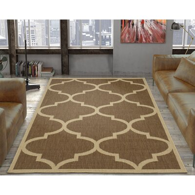 Emma Morroccan Trellis Power Loom Brown Indoor/Outdoor Area Rug Rug Size: 53 X 73
