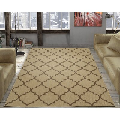 Emma Trellis Power Loom Beige Indoor/Outdoor Area Rug Rug Size: 53 X 73