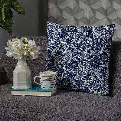 Nhek Modern Floral Throw Pillow Pillow Cover Color: Dark Blue