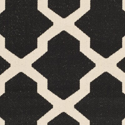 Short Black/Beige Trellis Outdoor Rug Rug Size: Rectangle 67 x 96