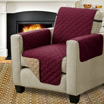 Diamond T-Cushion Armchair Slipcover Upholstery: Burgundy/Tan
