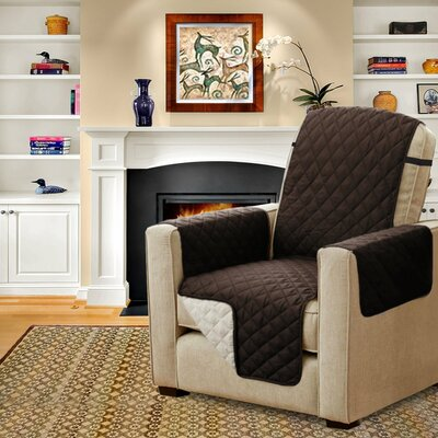 Diamond T-Cushion Armchair Slipcover Upholstery: Brown/Beige