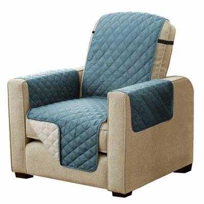 Diamond T-Cushion Armchair Slipcover Upholstery: Smoke Blue/Beige