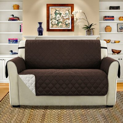 Diamond T-Cushion Loveseat Slipcover Upholstery: Brown/Beige