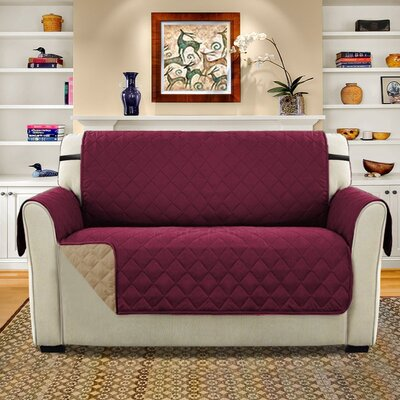 Diamond T-Cushion Loveseat Slipcover Upholstery: Burgundy/Tan