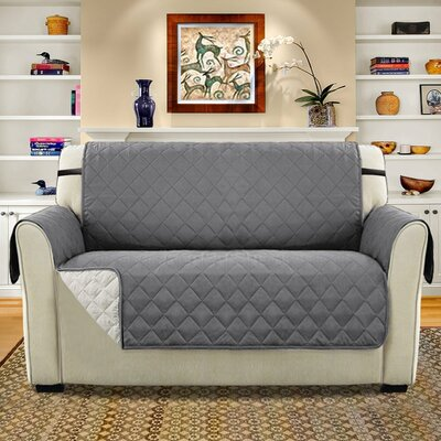 Diamond T-Cushion Loveseat Slipcover Upholstery: Gray/Beige