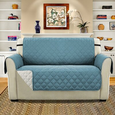 Diamond T-Cushion Loveseat Slipcover Upholstery: Smoke Blue/Beige