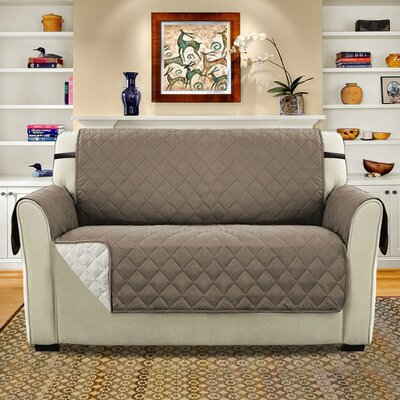 Diamond T-Cushion Loveseat Slipcover Upholstery: Taupe/Beige