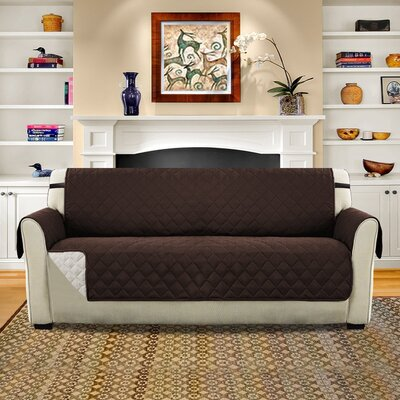 Diamond T-Cushion Sofa Slipcover Upholstery: Brown/Beige
