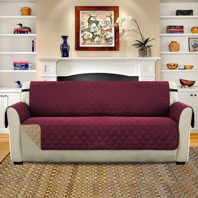 Diamond T-Cushion Sofa Slipcover Upholstery: Burgundy/Tan