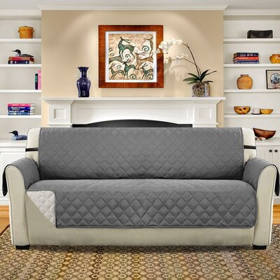 Diamond T-Cushion Sofa Slipcover Upholstery: Gray/Beige
